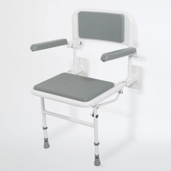 Nymas NymaPRO Wall Mounted Padded Shower Seat with Back Legs and Arms - Grey