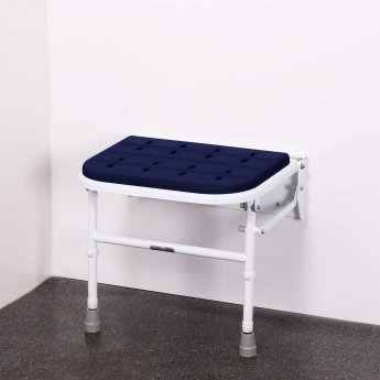 Nymas Premium Wall Mounted Padded Shower Seat with Legs - Dark Blue