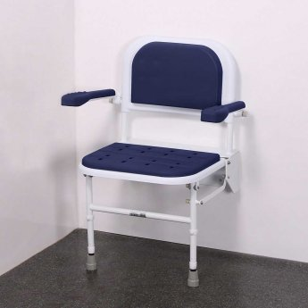Nymas Premium Wall Mounted Padded Shower Seat with Legs Back and Arms - Dark Blue