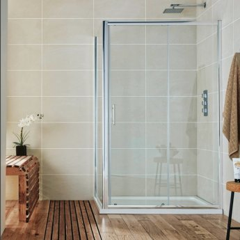 Orbit A6 Sliding Shower Door 1400mm Wide - 6mm Glass