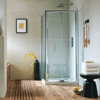 Orbit A6 Semi-Frameless Bi-Fold Shower Door 900mm Wide - 6mm Glass