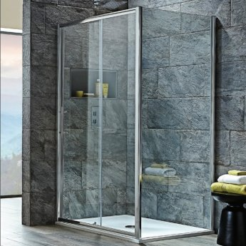 Orbit A8 Sliding Shower Door 1600mm Wide - 8mm Glass