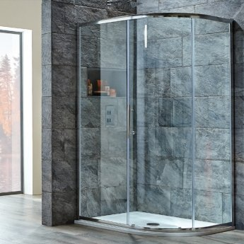 Orbit A8 Single Door Offset Quadrant Shower Enclosure 1200mm x 800mm - 8mm Glass