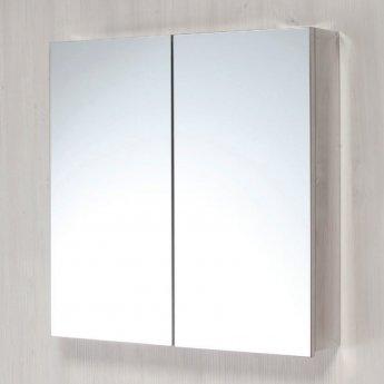 Orbit 2-Door Mirrored Bathroom Cabinet 600mm H x 600mm W - Stainless Steel