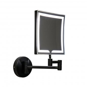 Orbit Square Wall Hung LED Makeup Bathroom Mirror 200mm H x 200mm W - Black
