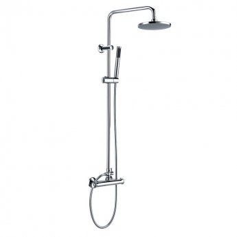 Orbit Entry Thermostatic Bar Mixer Shower with Shower Kit and Fixed Head - Chrome