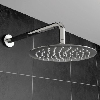 Orbit Round Fixed Shower Head 200mm Diameter - Stainless Steel