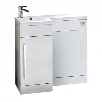 Orbit Life LH Combination Unit with Sculptured Basin 900mm Wide - Gloss White