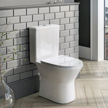 Orbit Life Open Back Close Coupled Rimless Toilet with Push Button Cistern - Soft Close Seat