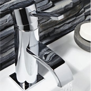 Orbit Luxo Mono Basin Mixer Tap with Push Button Waste - Chrome