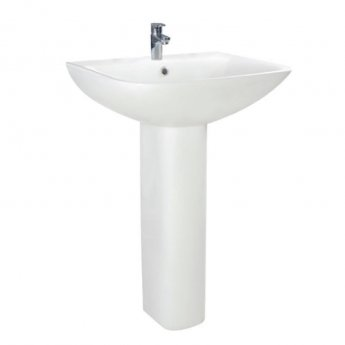 Orbit Nix Basin with Full Pedestal 550mm Wide - 1 Tap Hole