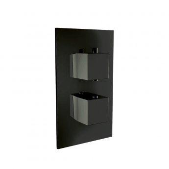 Orbit Noire Square Thermostatic Concealed Shower Valve Dual Handle - Matt Black