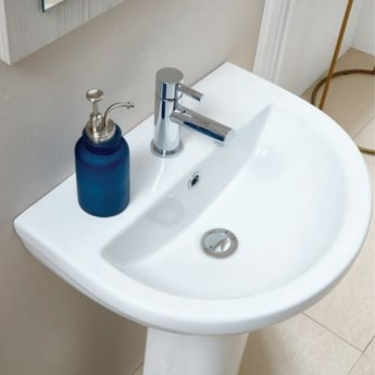 Orbit Omni Basin with Full Pedestal 500mm Wide - 1 Tap Hole