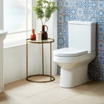 Orbit Omni Comfort Height Close Coupled Toilet with Push Button Cistern - Wrapover Soft Close Seat