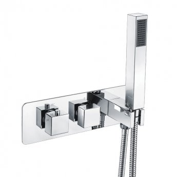 Orbit Recessed Square Concealed Shower Valve with Diverter Dual Handle - Chrome