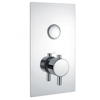 Orbit Recessed One Round Push Button Concealed Shower Valve Single Handle - Chrome