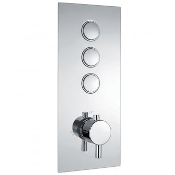 Orbit Recessed Triple Round Push Button Concealed Shower Valve Single Handle - Chrome