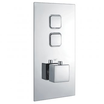 Orbit Recessed Twin Square Push Button Concealed Shower Valve Single Handle - Chrome