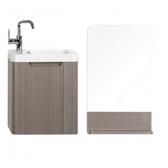 Orbit Supreme Wall Mounted Vanity Unit with Basin and Mirror 450mm Wide - Cashmere Oak
