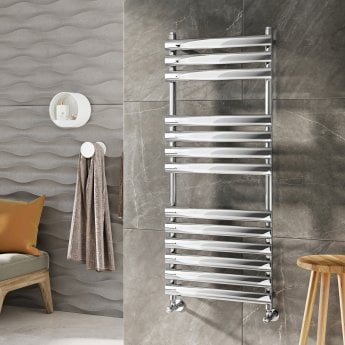 Orbit Tubular Designer Heated Towel Rail 1200mm H x 500mm W - Chrome
