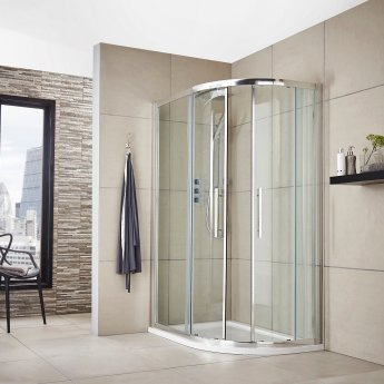 Hudson Reed Apex Offset Quadrant Shower Enclosure 1200mm x 800mm with Shower Tray RH - 8mm Glass