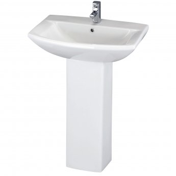 Nuie Asselby Medium Basin and Full Pedestal 1 Tap Hole 600mm Wide