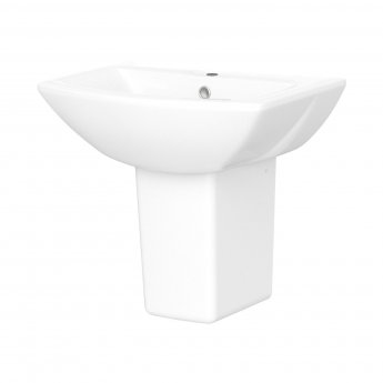 Nuie Asselby Basin and Semi Pedestal 500mm Wide 1 Tap Hole
