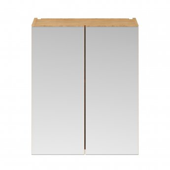 Premier Athena Mirrored Cabinet (50/50) 600mm Wide - Natural Oak
