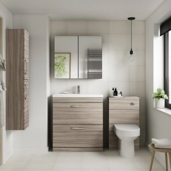 Nuie Athena Back to Wall WC Toilet Unit 500mm Wide - Driftwood