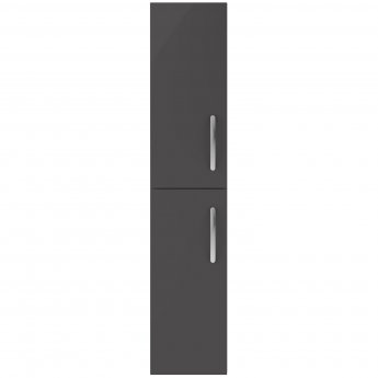 Nuie Athena Wall Hung 2-Door Tall Unit 300mm Wide - Gloss Grey