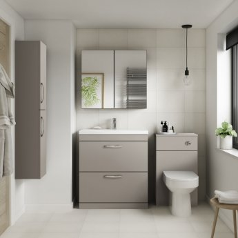 Premier Athena Back to Wall WC Toilet Unit 500mm Wide - Stone Grey