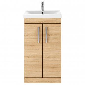 Premier Athena Floor Standing 2-Door Vanity Unit with Basin 1 Natural Oak - 500mm Wide