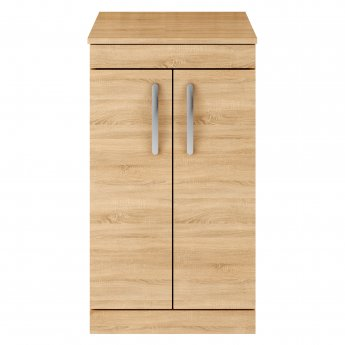 Premier Athena Floor Standing 2-Door Vanity Unit and Worktop 500mm Wide - Natural Oak