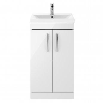 Premier Athena Floor Standing 2-Door Vanity Unit with Basin-3 500mm Wide - Gloss White
