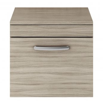 Nuie Athena Wall Hung 1-Drawer Vanity Unit and Worktop 500mm Wide - Driftwood