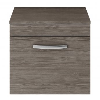 Nuie Athena Wall Hung 1-Drawer Vanity Unit and Worktop 500mm Wide - Brown Grey Avola