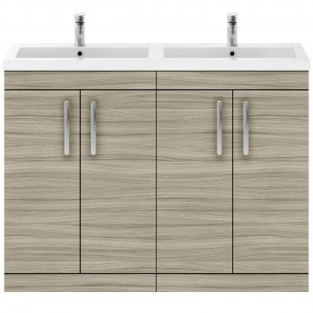 Premier Athena Floor Standing 4-Door Vanity Unit with Double Basin 1200mm Wide - Driftwood