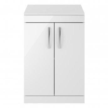 Premier Athena Floor Standing 2-Door Vanity Unit and Worktop 600mm Wide - Gloss White