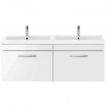 Premier Athena Wall Hung 2-Drawer Vanity Unit with Double Basin 1200mm Wide - Gloss White