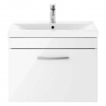 Premier Athena Wall Hung 1-Drawer Vanity Unit with Basin-3 600mm Wide - Gloss White