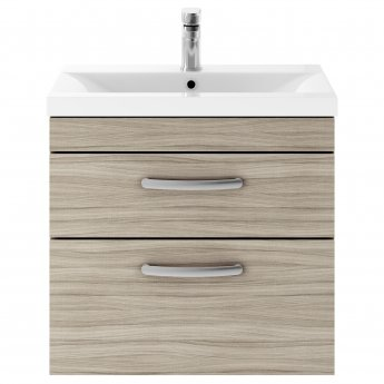 Premier Athena Wall Hung 2-Drawer Vanity Unit with Basin 1 Driftwood - 600mm Wide