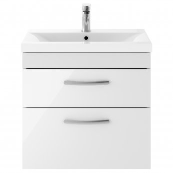 Premier Athena Wall Hung 2-Drawer Vanity Unit with Basin 2 Gloss White - 600mm Wide