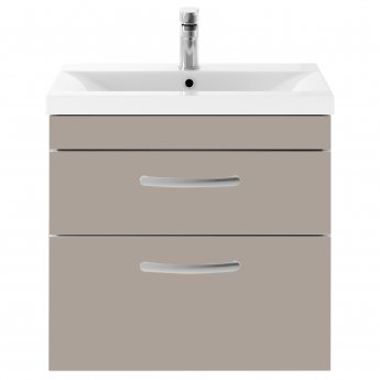 Premier Athena Wall Hung 2-Drawer Vanity Unit with Basin 1 Stone Grey - 600mm Wide