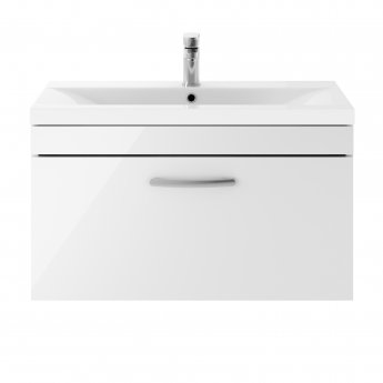Nuie Athena Wall Hung 1-Drawer Vanity Unit with Basin-3 800mm Wide - Gloss White