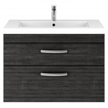 Premier Athena Wall Hung 2-Drawer Vanity Unit with Basin 2 Hacienda Black - 800mm Wide