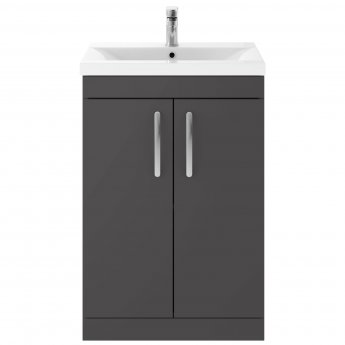 Premier Athena Floor Standing 2-Door Vanity Unit Basin-2 600mm Wide - Gloss Grey
