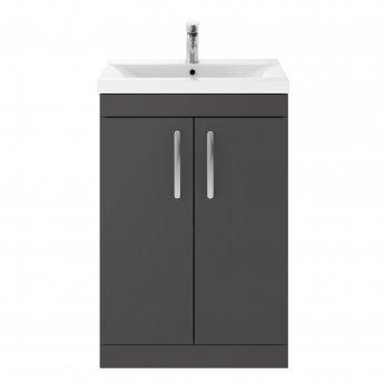 Premier Athena Floor Standing 2-Door Vanity Unit with Basin-3 600mm Wide - Gloss Grey