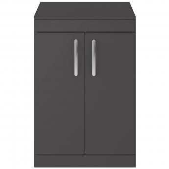 Premier Athena Floor Standing 2-Door Vanity Unit and Worktop 600mm Wide - Gloss Grey