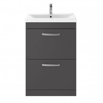 Nuie Athena Floor Standing 2-Drawer Vanity Unit with Basin-3 600mm Wide - Gloss Grey