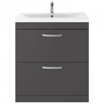 Premier Athena Floor Standing 2-Drawer Vanity Unit with Basin-2 800mm Wide - Gloss Grey